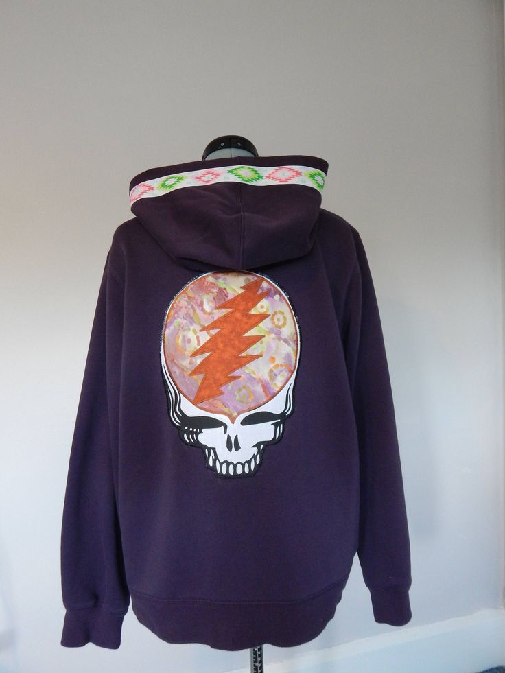 Grateful Dead Steal Your Face Stealie Blue Wool Hoodie // Unisex Adult Sizes Medium & XL Available FtNPLzmrq