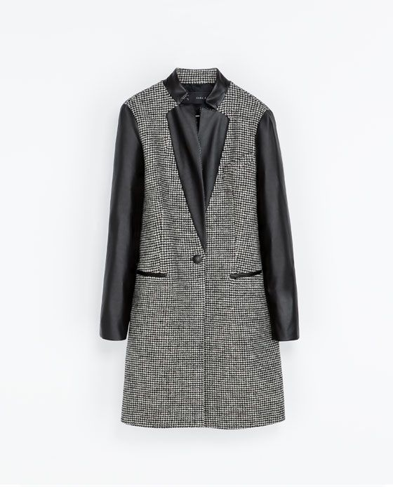 ZARA - WOMAN - COMBINED FAUX LEATHER COAT