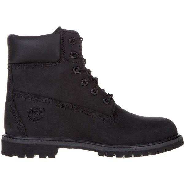 """Timberland 6"""" Premium Boots W ($210) ❤ liked on Polyvore featuring shoes, boots, black nubuck, women, black faux boots, fake boots, timberland boots, faux-fur boots and synthetic boots"""