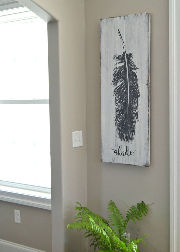 Original feather painting on reclaimed wood by Aimee Weaver Designs