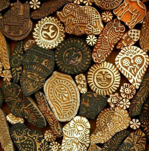 Inspirational wooden hand print blocks