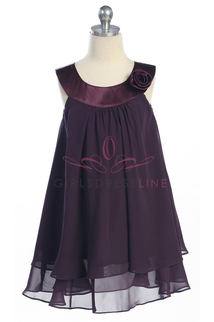 Eggplant Satin bib necklin & chiffon A-line Flower Girl dress K255E $29.95 on www.GirlsDressLine.Com