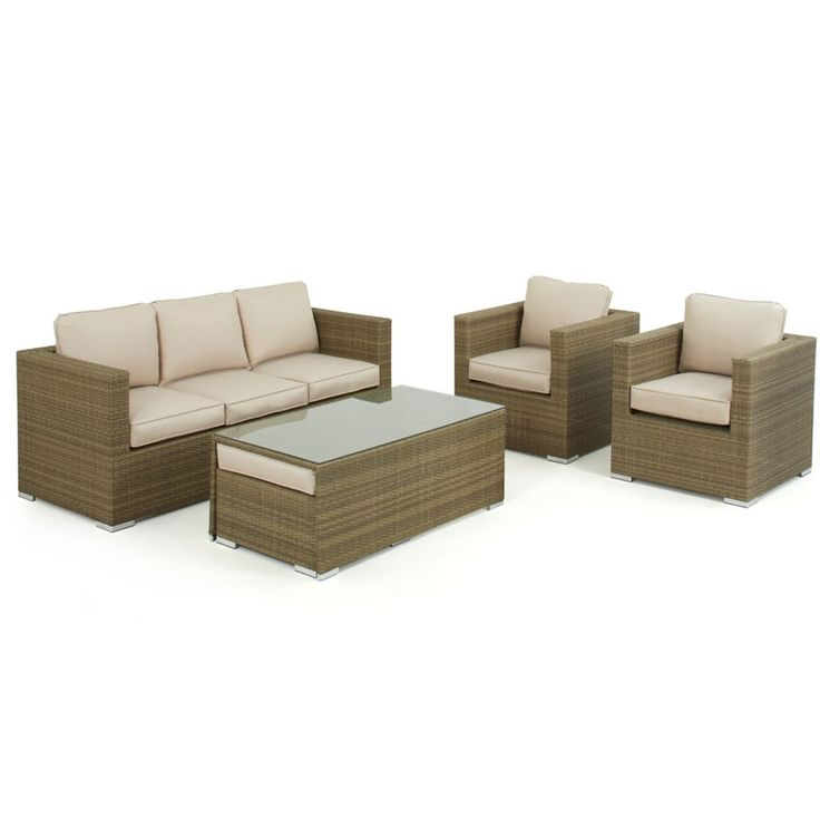 The Tuscany 3 seat sofa set is a wonderful suite for any garden or terrace. With 2 luxurious armchairs, a 3 seat sofa and 2 cushioned footstool come seats, up to 7 people can relax on this set. The Tuscany rattan is hand woven around an aluminum frame and is all weather.
