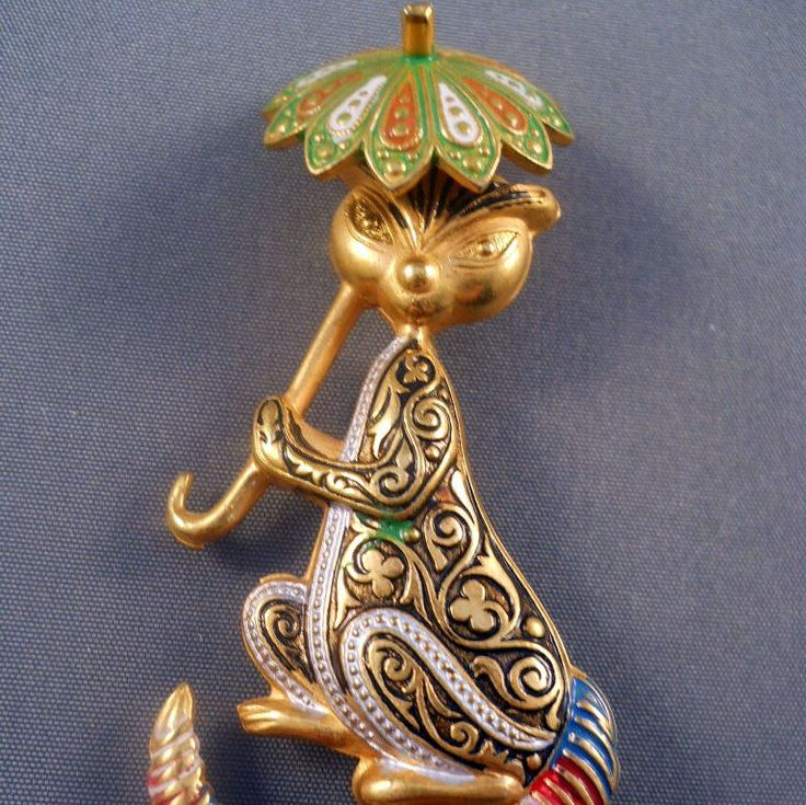 Damascene Style Cat Figural Brooch Parasol from Suzy's Timeless Treasures on Ruby Lane