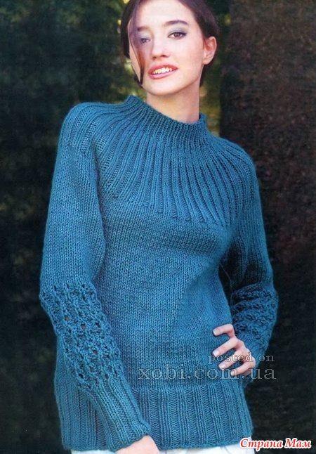 Женский вязаный спицами пуловер с круглой кокеткой Размер: 44-46. Материалы: 500 г пряжи (100% акрил) средней толщины бирюзового цвета, спицы № 5,5 и 6. Резинка 1x1: лиц.