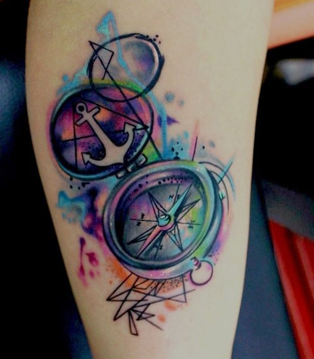 WOW! Love this! I would probably substitute the anchor with something else but I adore the watercolor compass.