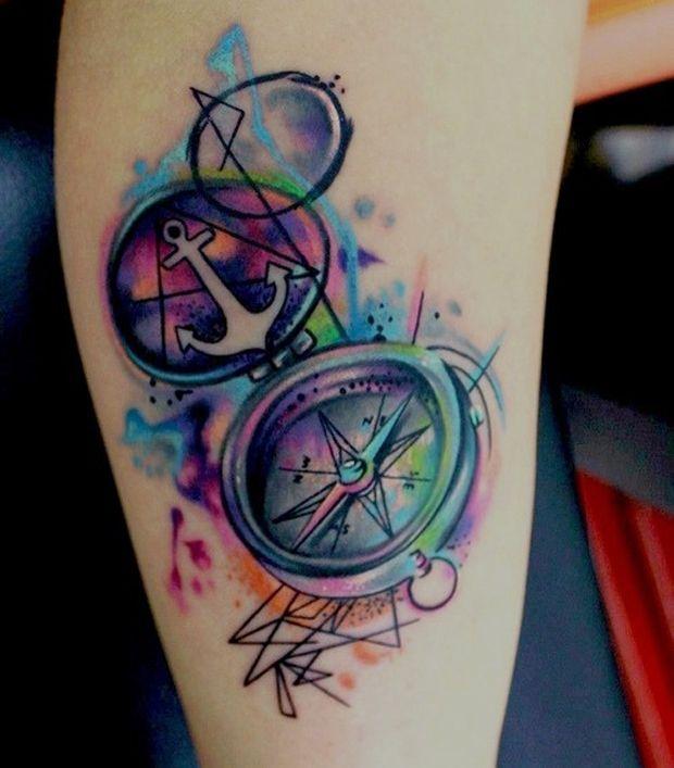 followthecolours_compass_tattoo_017. Beautiful colours , compass tattoo.