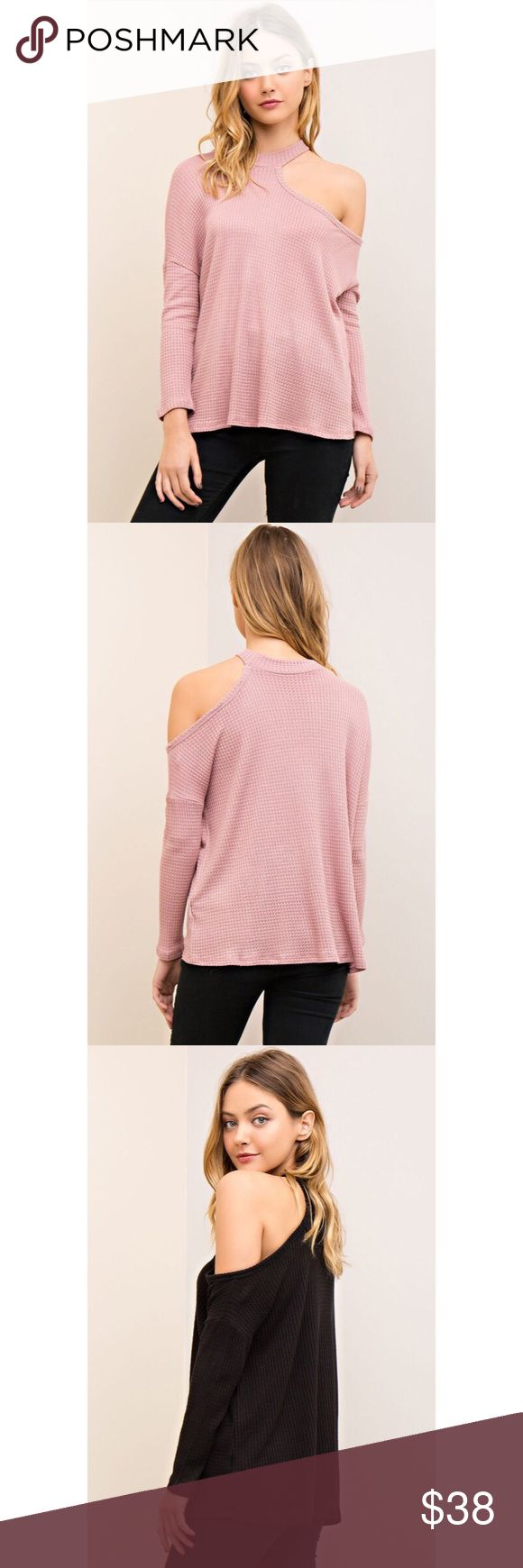 All I Half One Cold Shoulder Top - Pink Stepping' up that casual wear game with the All I Half  One Cold Shoulder Top! Features long sleeves, waffle knit texture, one open shoulder and relax fit. Also available in White and Black likeNarly Tops