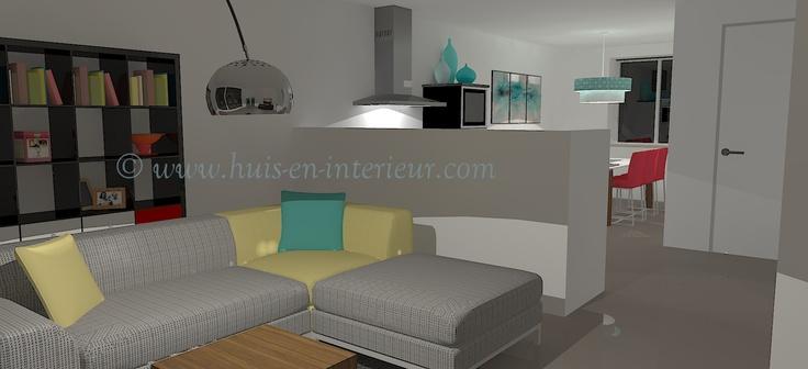 ibbA Almere - ontwerp 2 - woonkamer met kunstlicht. Zo zie je goed de verschillende ruimtes: zithoek, keuken en eetkamer