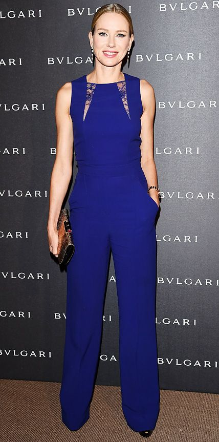 Naomie Watts dropped jaws in a royal blue sleeveless Elie Saab jumpsuit with lace detailing. A pair of danglers and a metallic gold clutch added the right dose of glam.