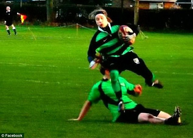 Tragic Sarah Chesters was playing for her ladies' rugby team on October 19 last year when she was bundled to the ground by a bigger opposition player (pictured here in an earlier match)