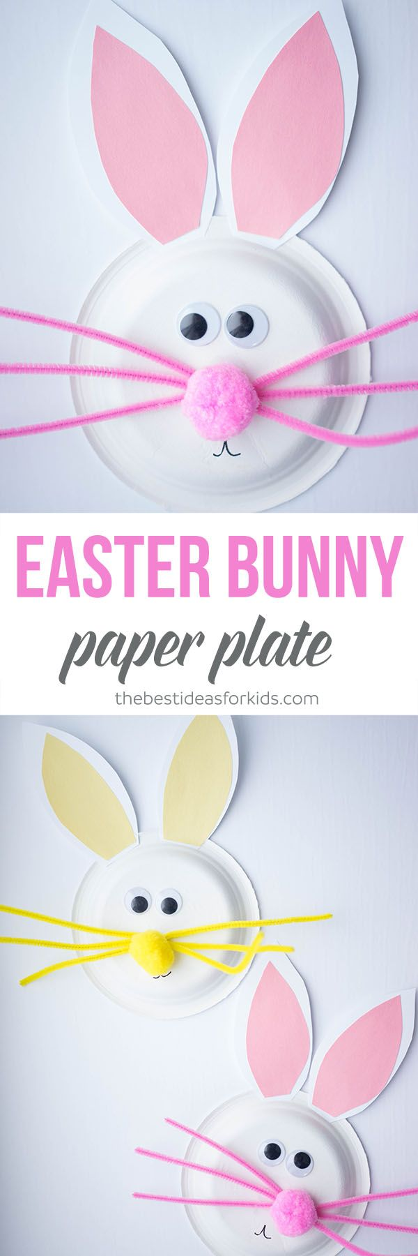 This paper plate Easter Bunny is so cute! I love how easy this is to make and a really fun kids craft to do with the kids! So much fun as an easy Easter Craft for Kids. #easter #eastercraft #kidscraft via @bestideaskids
