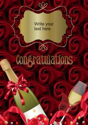 Congratulations To you on Craftsuprint designed by Marie Wolman - This is a perfect card to send to someone who has just made a big announcement. Though it is in the wedding category it can be used for engagements, anniversaries or birthdays.With this card you can add your own text. - Now available for download!
