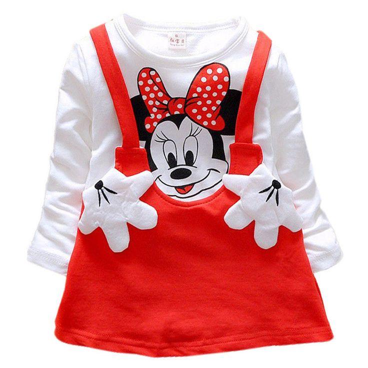 Balita Bayi Perempuan Musim Gugur Pakaian Kartun Tikus Dresses elbise vestido infantil Anak Princess Party Tutu Gaun Pakaian bebek 21