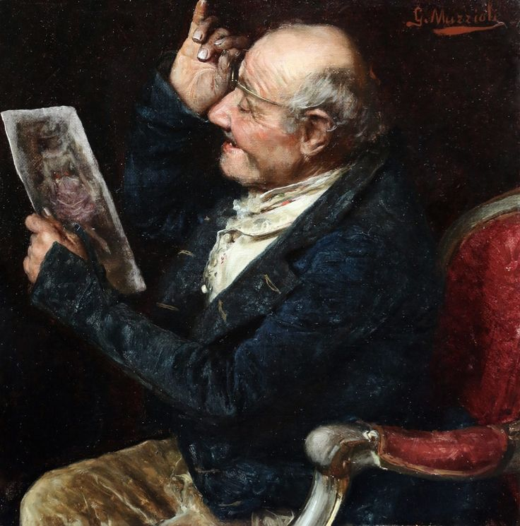 https://flic.kr/p/SybfBf | Giovanni Muzzioli - The Connoisseur [c.1880] | Giovanni Muzzioli (Modena, February 10, 1854 - Florence, August 5, 1894) was an Italian painter. He studied under Simonazi and Ascoli in Modena, then in Rome under Podesti and Coghetti; he made his debut in Florence in 1876 and went on to exhibit in Modena, Bologna, Milan, Turin and Rome. He also taught at the Florence and Modena academies.  [Leighton Fine Art, Flackwell Heath - Oil on canvas, 26.7 x 26.7 cm]