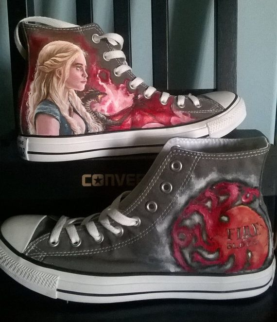 Game of Thrones Converse handmade shoes , Daenerys custom shoes