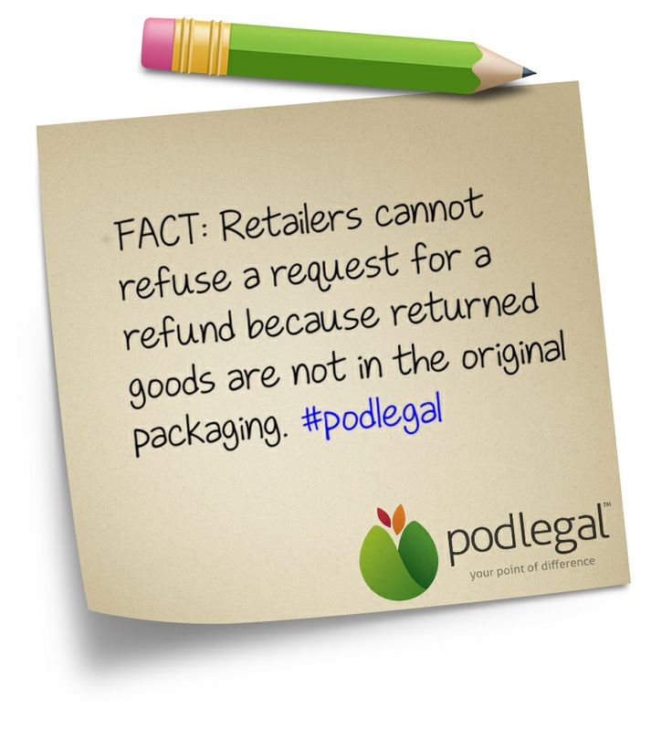 STICKY NOTE: Do goods need to be in original packaging for a refund? #commerce #eCommerce #retail #consumers #AustralianConsumerLaw #ACL #podlegal