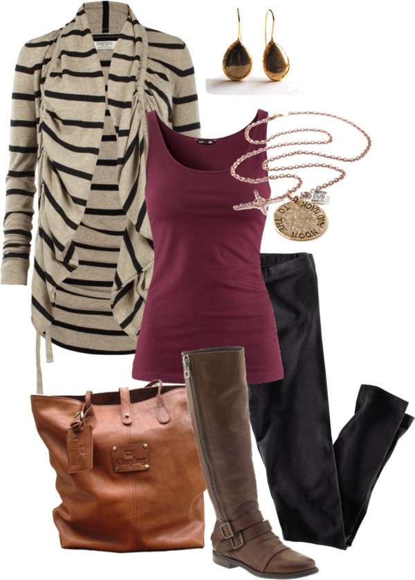 Love the necklaceColors Combos, Stripes Cardigans, Style, Clothing, Fall Outfits, Fall Fashion, Polyvore, Plum Cardigan Outfit, Untitled 326