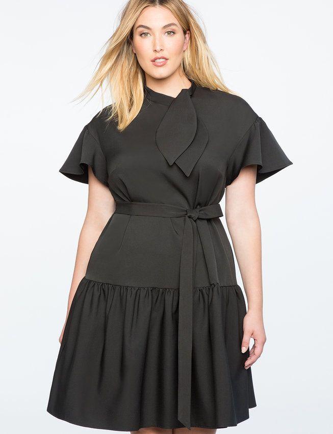 Tie Neck Peplum Dress from eloquii.com