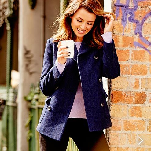 Dannii Minogue wearing the Petites Double Breasted Peacoat - Navy