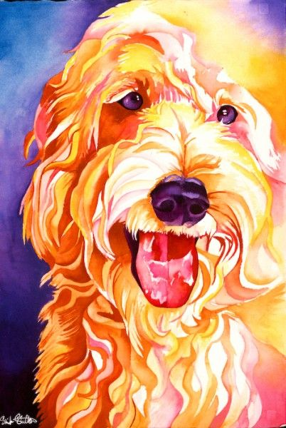 Vibrant  and colorful doodle. Captures his personality perfectly. I would know, i have one. Doodle I mean :)