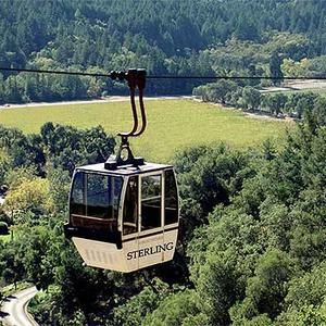 To start your wine tour, a tram car takes you up to Sterling Vineyards which is perched on a hill.