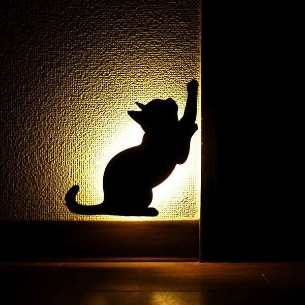 Cat Silhouette Wall Light Avec Images Tipi Pour Chat Art Sur Metal Deco Bebe