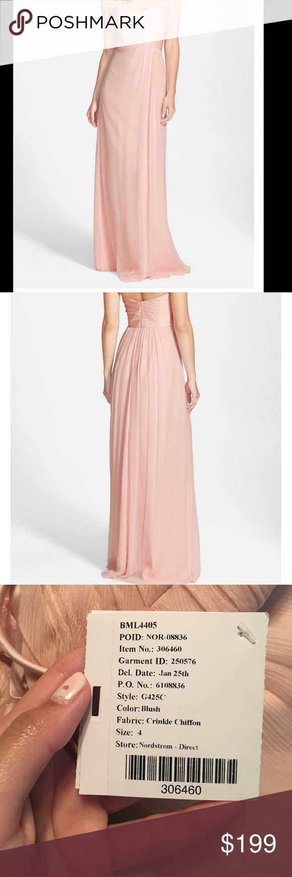 """Strapless Crinkle Chiffon Dress from Nordstrom I wore this dress for prom four years ago and have not worn it since. It is specified as a bridesmaids dress but can be worn for any formal occasion. Retails online for $310.  I had the dress altered to fit a size 5'3"""" / 5'4"""" tall girl w/ heels and the bust is taken in to accommodate smaller chested women (A's). Dress will be professionally dry cleaned prior to shipping out :-) tags are on. Amsale Dresses Wedding"""