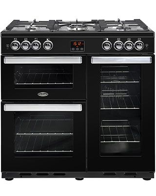 Belling 444444077 This brand new free standing range cooker is finished in stylish black and comes with 1 year parts and labour warranty. Features twin gas ovens, grill + gas hob with wok zone. Extended warranty available. http://bellsdomestics.co.uk/range-cooker-?pro_id=1174-Belling-444444077