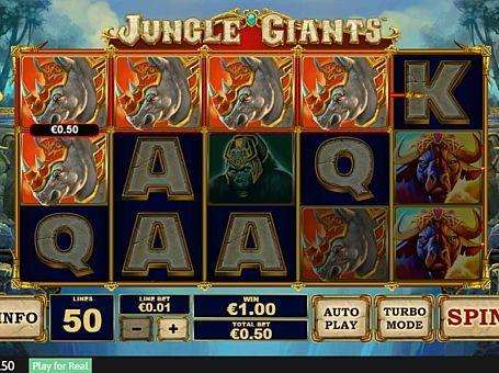 Ігровий автомат Jungle Giants на реальні гроші з виведенням  В ігровому апараті Jungle Giants вас чекають 5 барабанів і 50 ліній. Компанія Playtech присвятила його слонам і іншим великим тваринам. З виведенням реальних грошей з автомата допоможуть бонусні обертання і знаки нестандартного розміру.