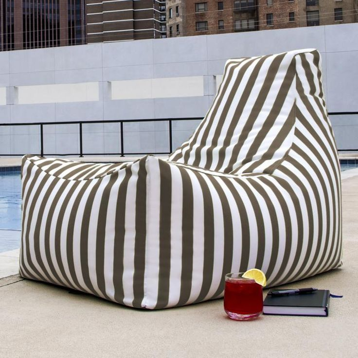 Jaxx Juniper Taupe Stripes Outdoor Bean Bag Chair