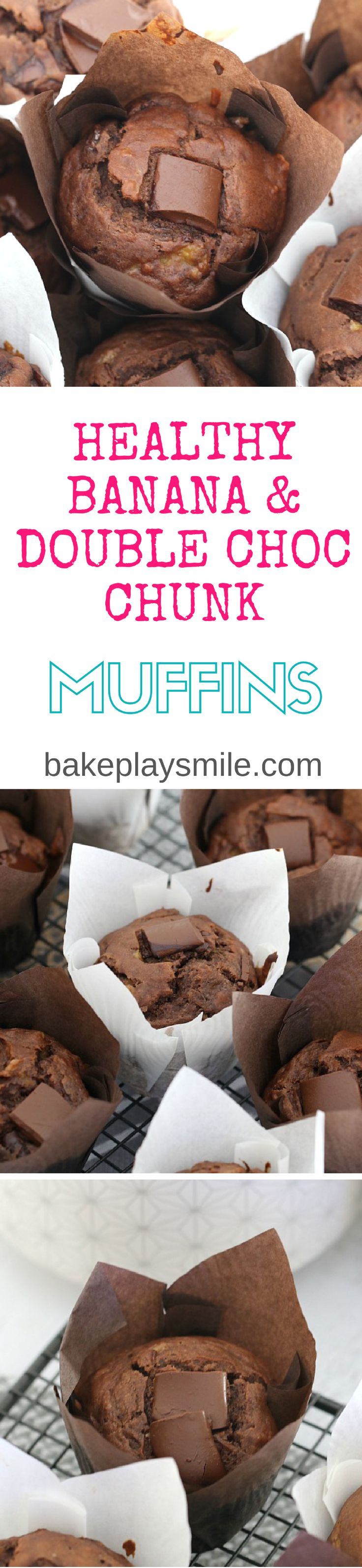 Healthy Banana & Double Chocolate Chunk Muffins that take just 5 minutes to prepare, are moist and totally delicious! Perfect for a breakfast-on-the-go or a lunchbox treat.   #healthy #banana #chocolate #muffins #coconut #oil #yogurt #lunchbox #snack #thermomix #conventional #easy #baking #recipe