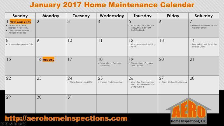 January 2017 Maintenance Calendar Homemaintenancecalendar