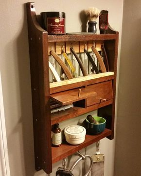 For another #tbt here's my shaving rack I built for my vintage straight razors.  The doors swivel on friction fitted finish nails.  This was my first project using rasps and files to do some shaping.  This was also my first time using shellac which has become a goto finish for me now.  I still have twice this number of razors to restore and add to my rotation.  I have two strops hanging a fine latigo strop for straightening my edge a second leather strop that I use the suede side charged…