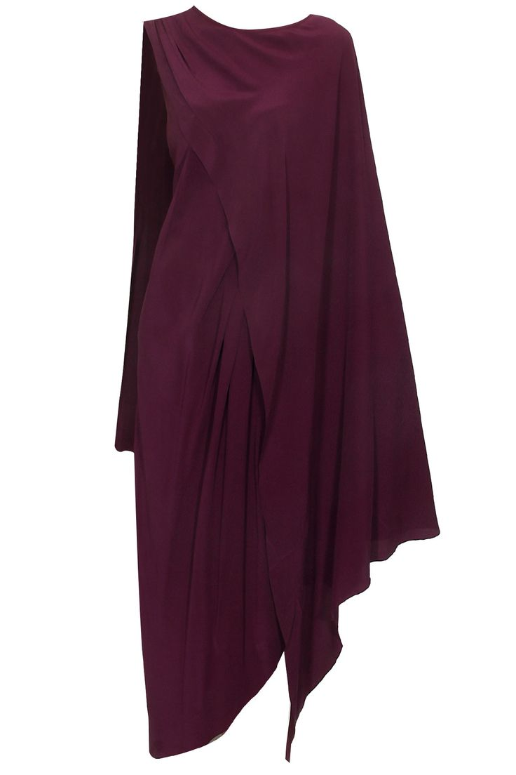 Wine two layered draped gown available only at Pernia's Pop Up Shop.#perniaspopupshop #shopnow #happyshopping #designer #newcollection #priyankaparekh #winterfestive