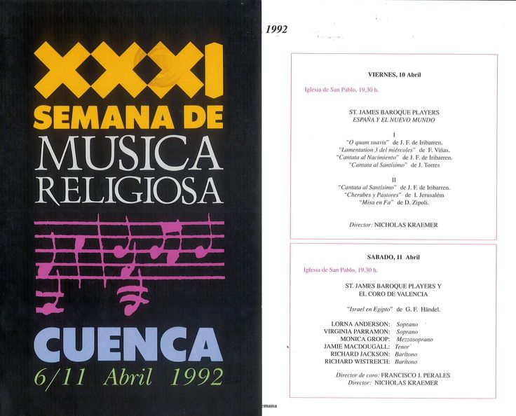 """XXXI Semana de Música Religiosa de Cuenca 1992 Folleto con la programación Concierto dedicado a la música religiosa del """"Nuevo Mundo"""" dirigido por Nicholas Kraemer con el St. James Baroque Players"""