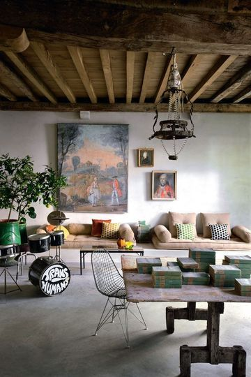 French House Tour in France - a mixture of 18th Century design and Fifties mid-century modern.