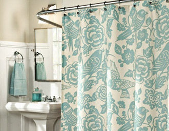 I have this shower curtain that I found at Marshalls. I don't have it up yet, but I love this picture of it.