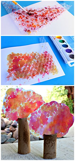 Toilet Paper Roll Tree Craft using bubble wrap and watercolors! #Fall craft for kids | CraftyMorning.com