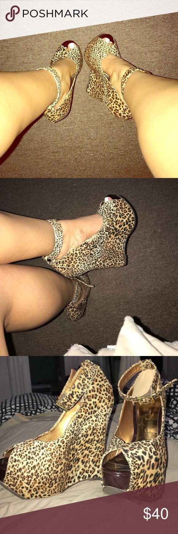 peep toe wedges leopard print peep toe wedges Shoes Wedges