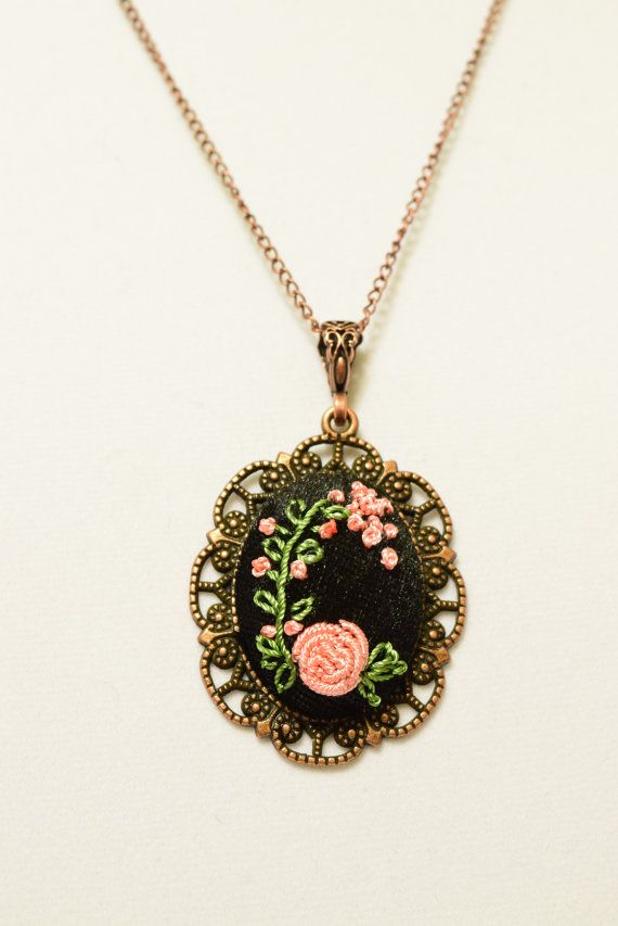 Victorian Embroidered Pink Rose Flower Necklace by Anatoliagems