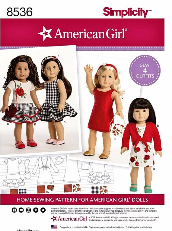 American Girl 18 Doll Clothes Sew Pretty Dresses Tops Skirts An Doll Clothes American Girl American Girl Doll Clothes Patterns 18 Inch Doll Clothes Pattern
