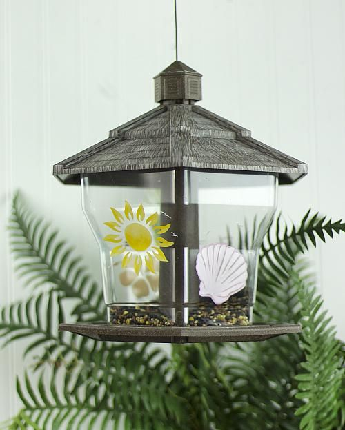 Tropical Bird Feeder -- Give visiting birds a colorful place to eat. Painting instructions included. #decoartprojects
