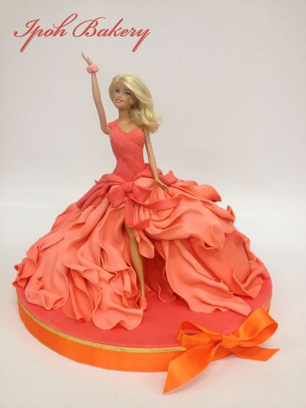 """Coral Swirling Dress Barbie""""  cake, This time the artist  wanted to create the look of a swirling dress"""