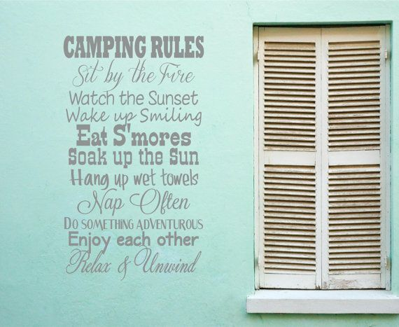 Camping rules  Smores Sunset Fire Towle Vinyl Decor Wall Subway art Lettering Words Quotes Decals Art Custom Willow Creek Signs