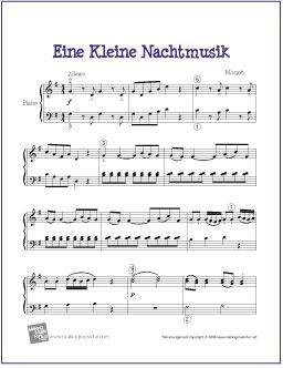 Eine Kleine Nachtmusik (Mozart) | Free Sheet Music for Easy Piano - http://makingmusicfun.net/htm/f_printit_free_printable_sheet_music/eine-kleine-nachtmusik-piano-solo.htm (Scheduled via TrafficWonker.com)