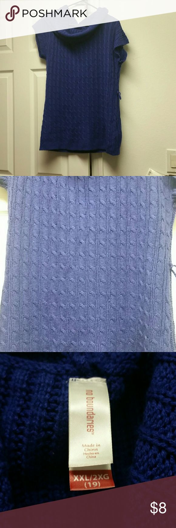2x cable knit short sleeve sweater Juniors 2x indigo color cable knit short sleeve sweater. Has loops on the side for a belt which I do not have anymore. No rips or stains or pulls. Has a cowl neck. Reasonable offers accepted. Smoke free, pet friendly home. No Boundaries Sweaters Cowl & Turtlenecks