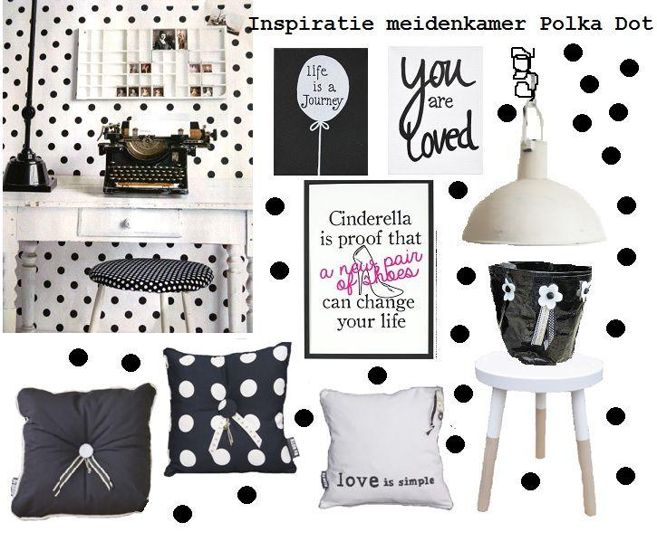 Inspiratie meidenkamer zwart wit Polka dot. http://www.bynoth.nl/c-2082236/stoere-meiden/
