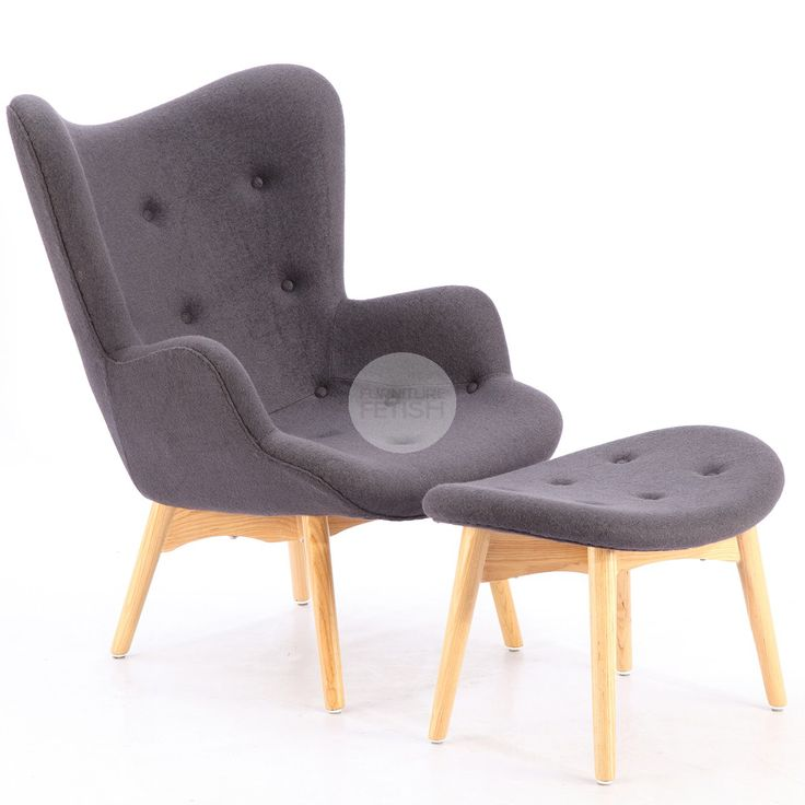 Replica Grant Featherston Chair & Ottoman - R160 Contour Chair Charcoal