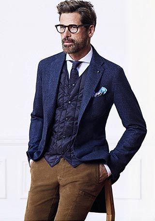 紺ツイードジャケット×ジレダウンベストの着こなし(メンズ) | Italy Web